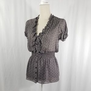 GUESS Ruffled Polka Dot Blouse. Sz M